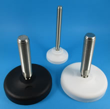 Adjustable feet with plastic bases